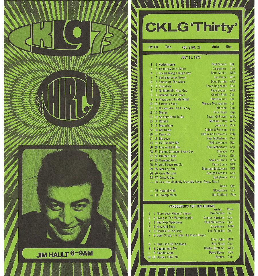 CKLG Top 30 for July 11 1973