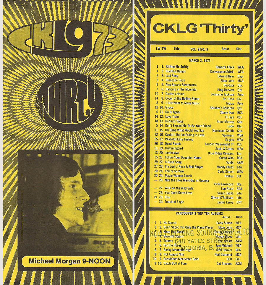 CKLG Top 30 for March 2 1973