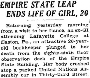Evelyn was incorrectly identified as 20 years old in the NY Times, May 2, 1947